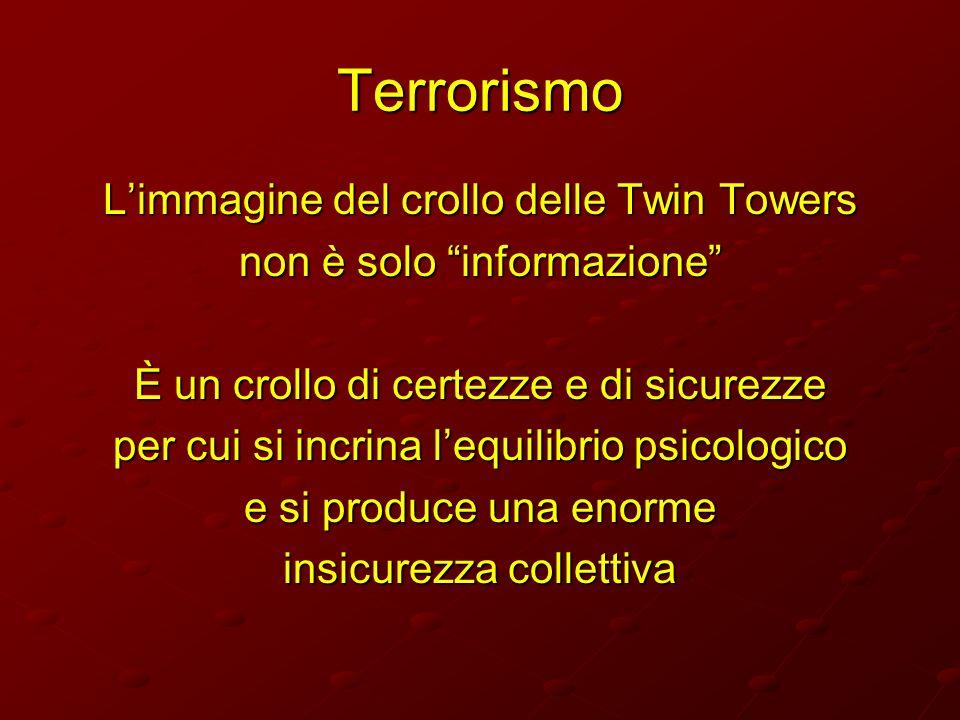Terrorismo Limmagine del crollo delle Twin Towers non è solo informazione È un crollo di certezze e di sicurezze per cui si incrina lequilibrio psicol