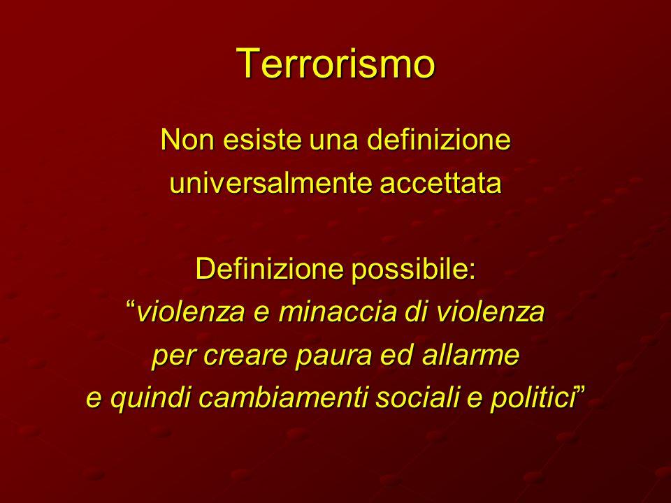 Terrorismo Non esiste una definizione universalmente accettata Definizione possibile: violenza e minaccia di violenzaviolenza e minaccia di violenza p