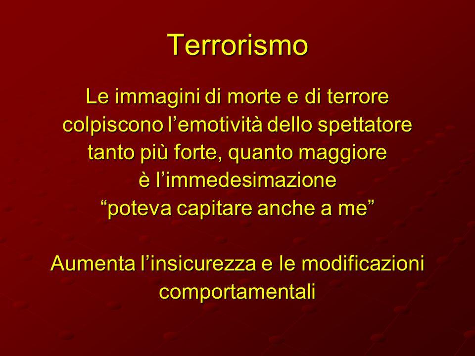 Terrorismo Le immagini di morte e di terrore colpiscono lemotività dello spettatore tanto più forte, quanto maggiore è limmedesimazione poteva capitar