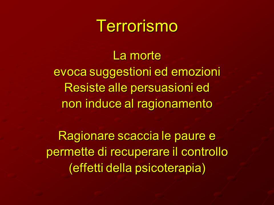 Terrorismo La morte evoca suggestioni ed emozioni Resiste alle persuasioni ed non induce al ragionamento Ragionare scaccia le paure e permette di recu