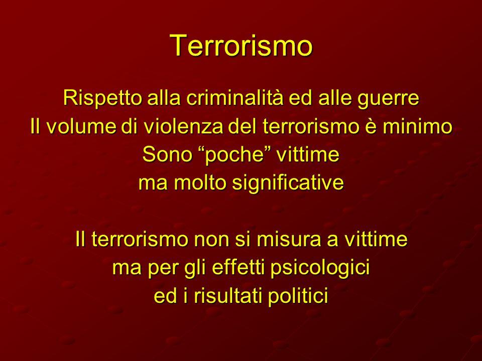 Terrorismo Rispetto alla criminalità ed alle guerre Il volume di violenza del terrorismo è minimo Sono poche vittime ma molto significative Il terrori