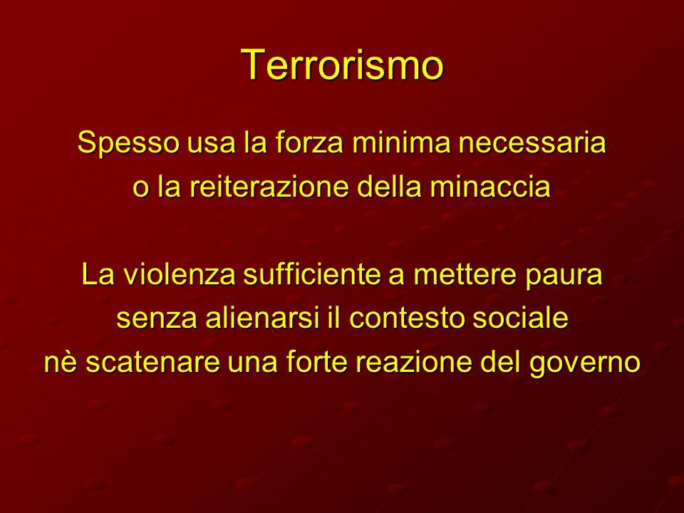 Terrorismo Spesso usa la forza minima necessaria o la reiterazione della minaccia La violenza sufficiente a mettere paura senza alienarsi il contesto