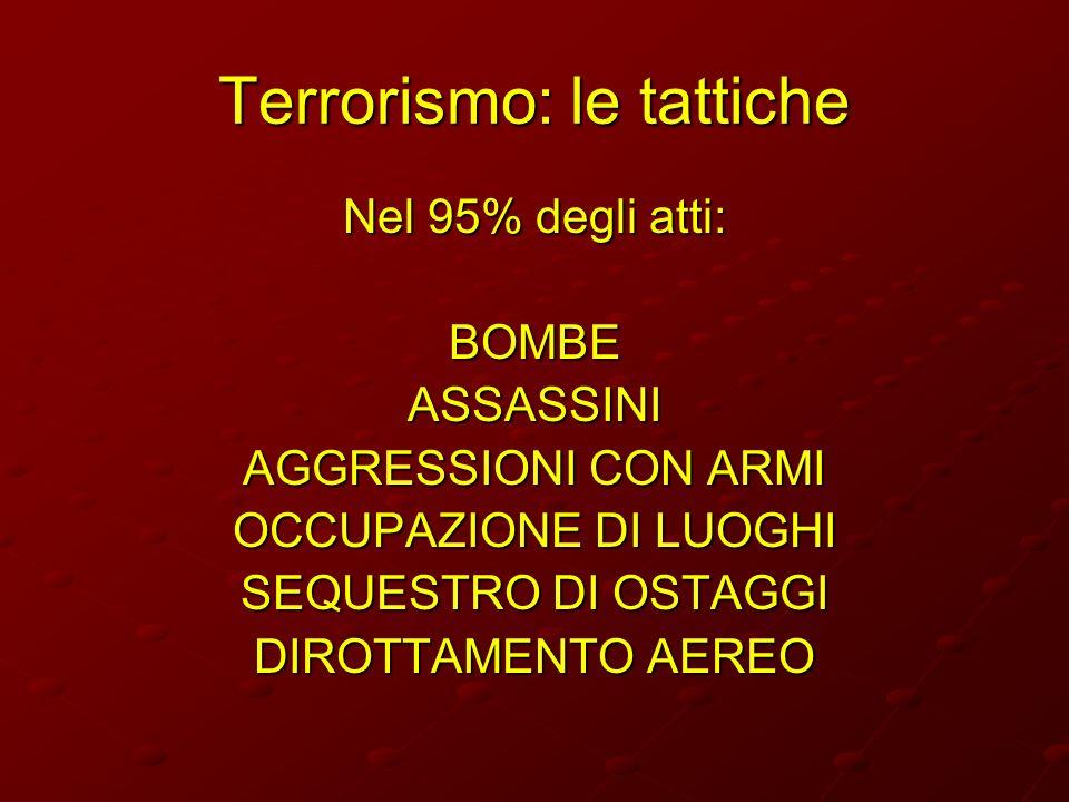 Terrorismo: le tattiche Nel 95% degli atti: BOMBEASSASSINI AGGRESSIONI CON ARMI OCCUPAZIONE DI LUOGHI SEQUESTRO DI OSTAGGI DIROTTAMENTO AEREO