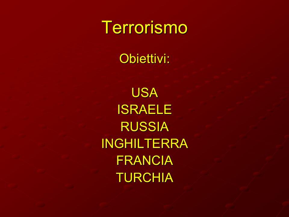 Terrorismo Obiettivi:USAISRAELERUSSIAINGHILTERRAFRANCIATURCHIA