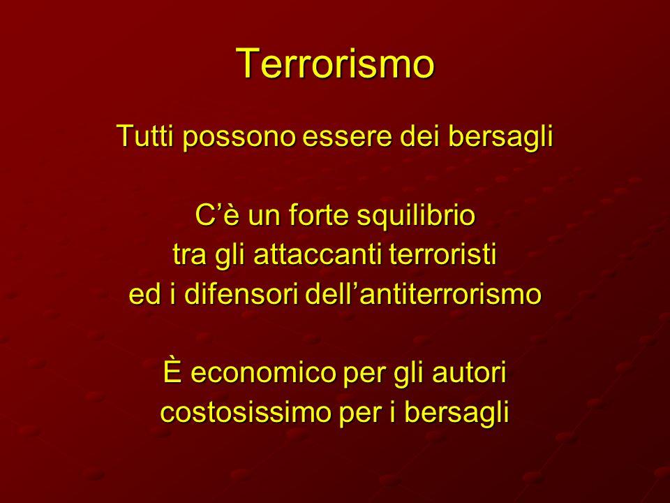 Terrorismo Tutti possono essere dei bersagli Cè un forte squilibrio tra gli attaccanti terroristi ed i difensori dellantiterrorismo È economico per gl