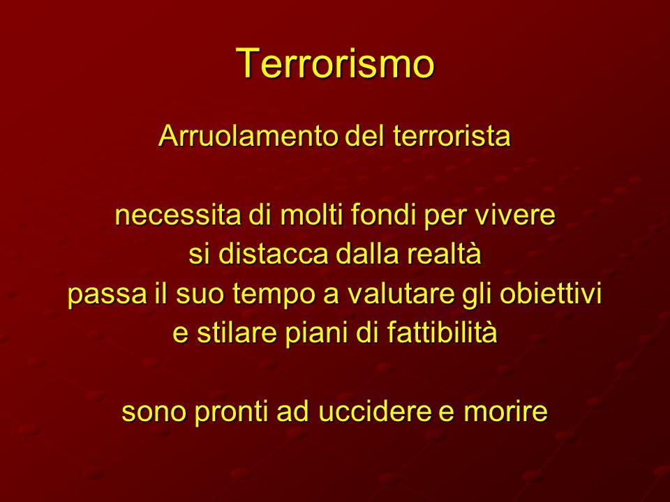Terrorismo Arruolamento del terrorista necessita di molti fondi per vivere si distacca dalla realtà passa il suo tempo a valutare gli obiettivi e stil