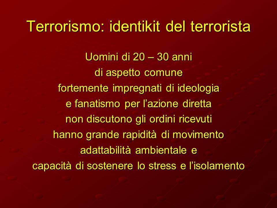 Terrorismo: identikit del terrorista Uomini di 20 – 30 anni di aspetto comune fortemente impregnati di ideologia e fanatismo per lazione diretta non d