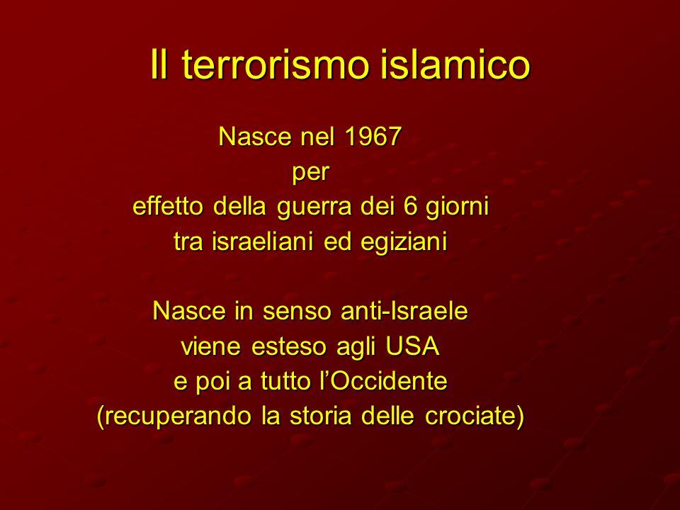 Il terrorismo islamico Nasce nel 1967 per effetto della guerra dei 6 giorni tra israeliani ed egiziani Nasce in senso anti-Israele viene esteso agli U