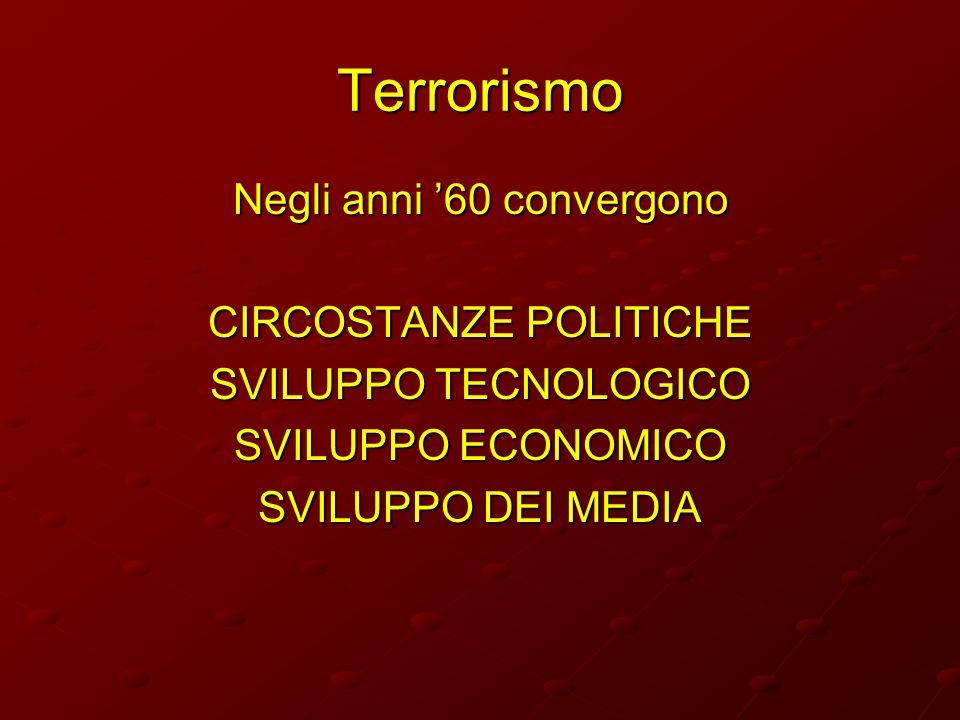 Terrorismo Negli anni 60 convergono CIRCOSTANZE POLITICHE SVILUPPO TECNOLOGICO SVILUPPO ECONOMICO SVILUPPO DEI MEDIA