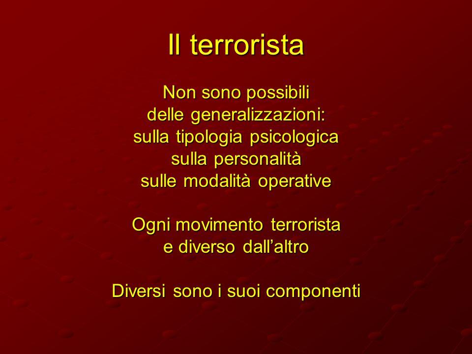 Il terrorista Non sono possibili delle generalizzazioni: sulla tipologia psicologica sulla personalità sulle modalità operative Ogni movimento terrori