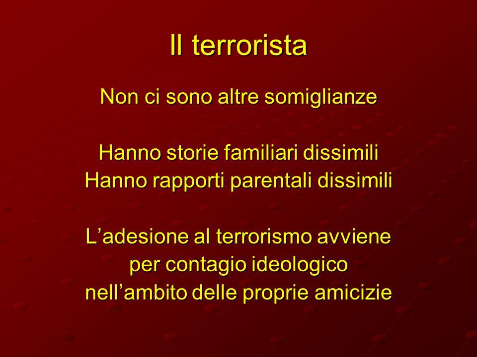 Il terrorista Non ci sono altre somiglianze Hanno storie familiari dissimili Hanno rapporti parentali dissimili Ladesione al terrorismo avviene per co