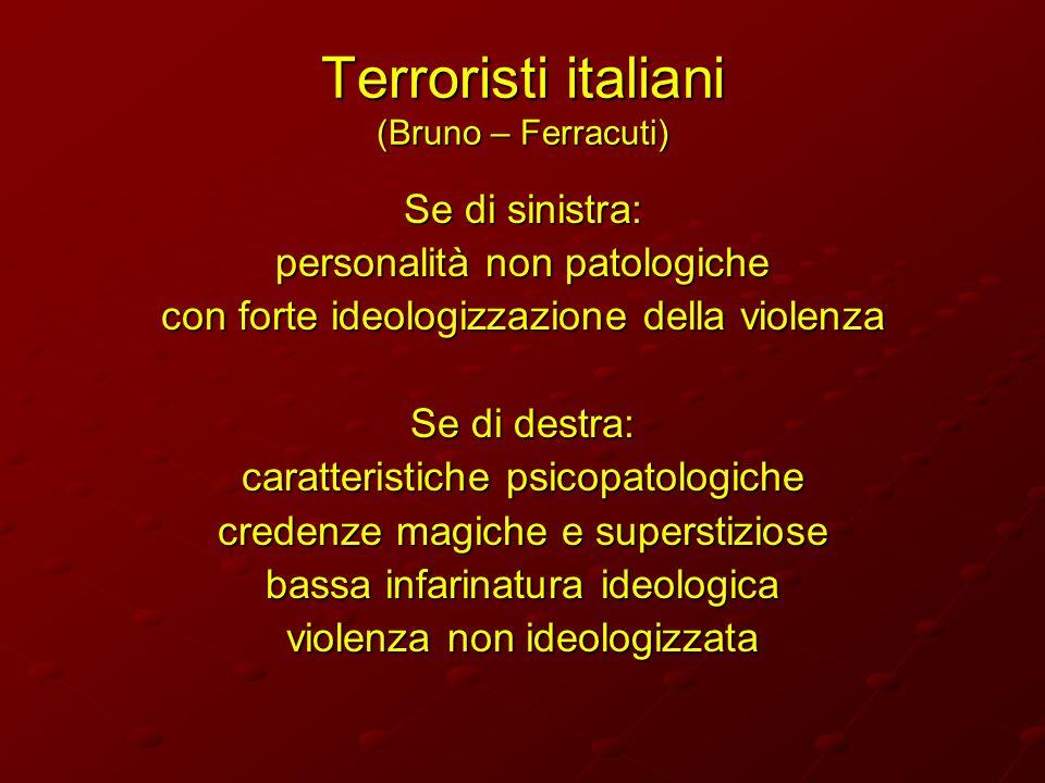 Terroristi italiani (Bruno – Ferracuti) Se di sinistra: personalità non patologiche con forte ideologizzazione della violenza Se di destra: caratteris