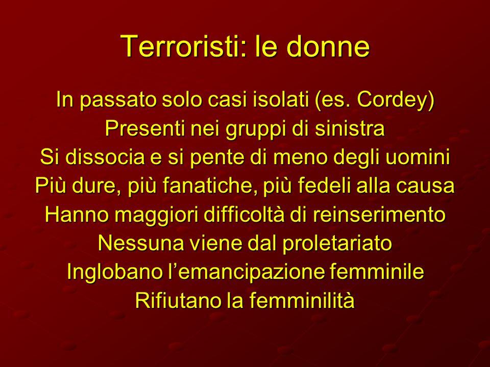 Terroristi: le donne In passato solo casi isolati (es. Cordey) Presenti nei gruppi di sinistra Si dissocia e si pente di meno degli uomini Più dure, p