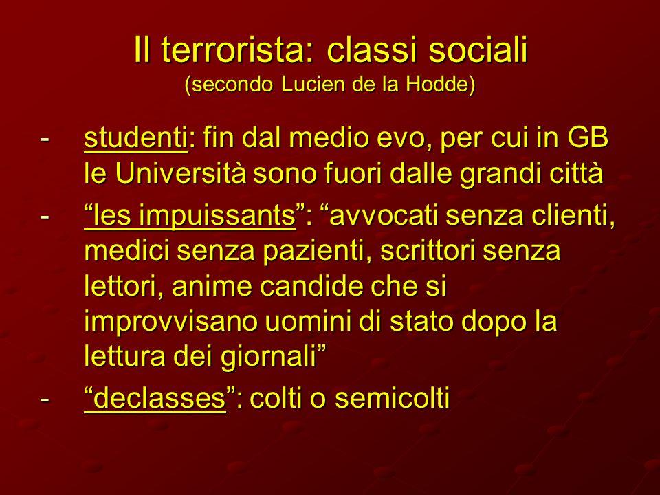 Il terrorista: classi sociali (secondo Lucien de la Hodde) -studenti: fin dal medio evo, per cui in GB le Università sono fuori dalle grandi città -le