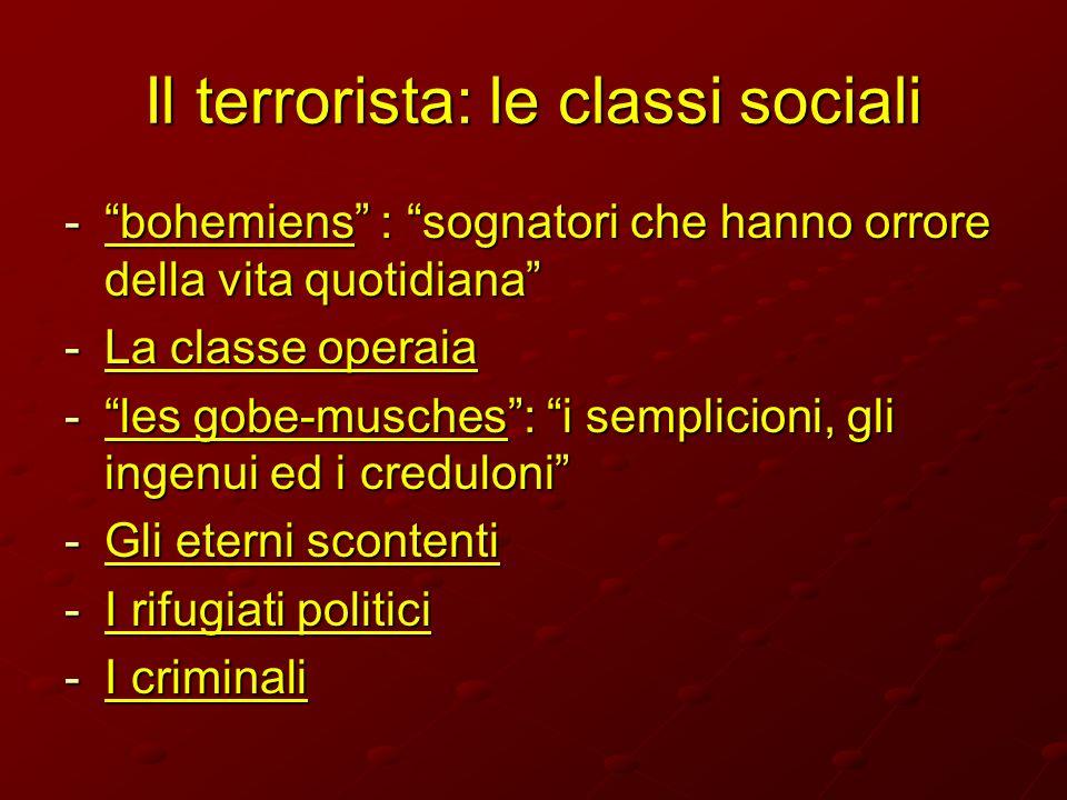 Il terrorista: le classi sociali -bohemiens : sognatori che hanno orrore della vita quotidiana -La classe operaia -les gobe-musches: i semplicioni, gl