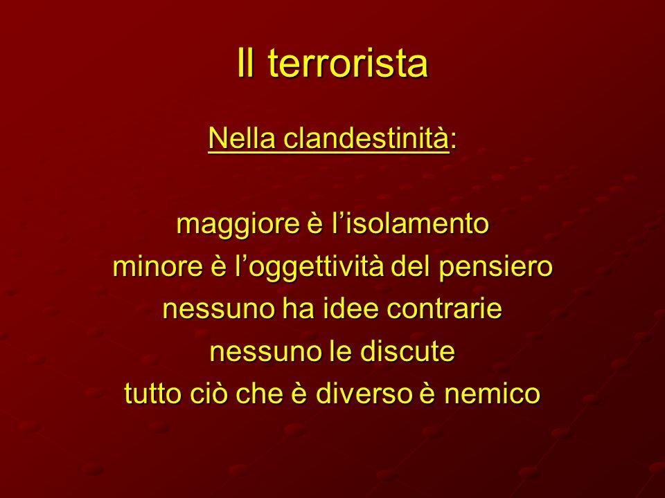 Il terrorista Nella clandestinità: maggiore è lisolamento minore è loggettività del pensiero nessuno ha idee contrarie nessuno le discute tutto ciò ch