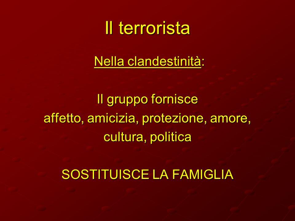 Il terrorista Nella clandestinità: Nella clandestinità: Il gruppo fornisce affetto, amicizia, protezione, amore, cultura, politica SOSTITUISCE LA FAMI