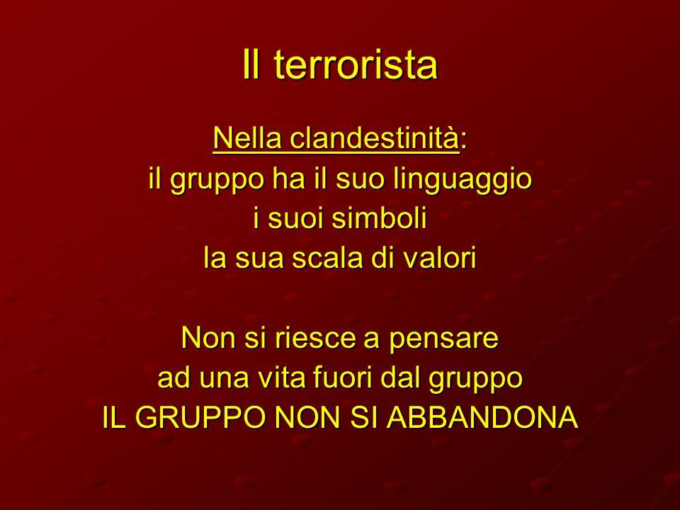 Il terrorista Nella clandestinità: il gruppo ha il suo linguaggio i suoi simboli la sua scala di valori Non si riesce a pensare ad una vita fuori dal