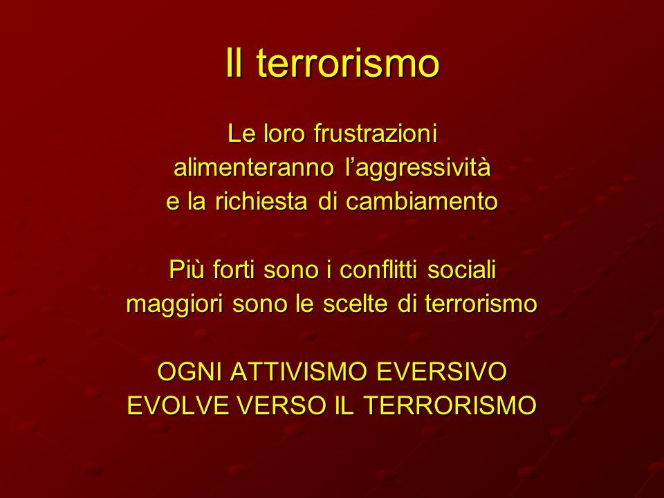 Il terrorismo Le loro frustrazioni alimenteranno laggressività e la richiesta di cambiamento Più forti sono i conflitti sociali maggiori sono le scelt