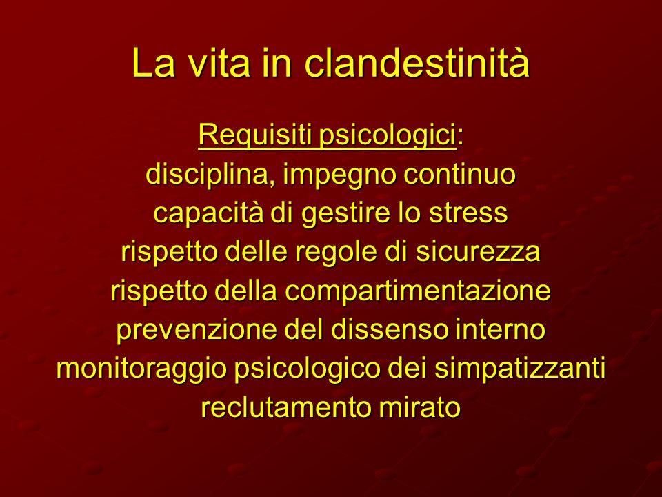 La vita in clandestinità Requisiti psicologici: disciplina, impegno continuo capacità di gestire lo stress rispetto delle regole di sicurezza rispetto