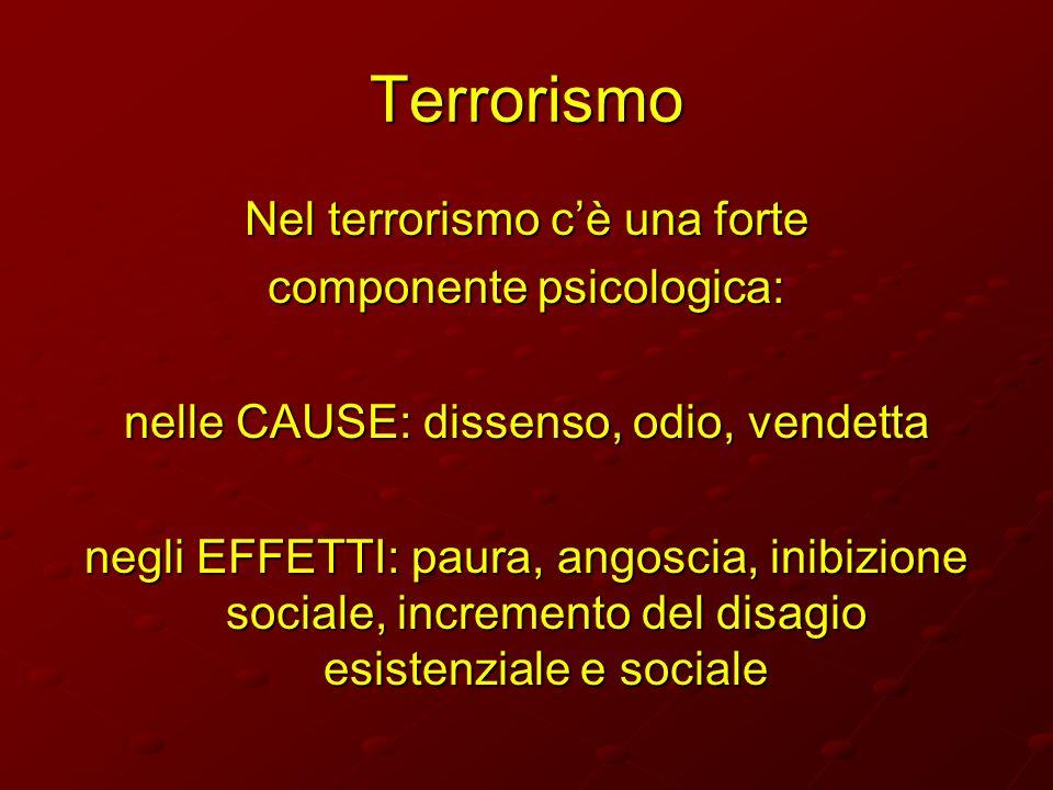 Terrorismo Nel terrorismo cè una forte componente psicologica: nelle CAUSE: dissenso, odio, vendetta negli EFFETTI: paura, angoscia, inibizione social