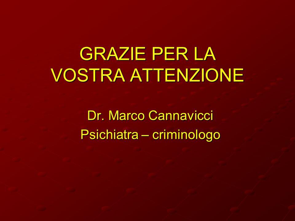 GRAZIE PER LA VOSTRA ATTENZIONE Dr. Marco Cannavicci Psichiatra – criminologo