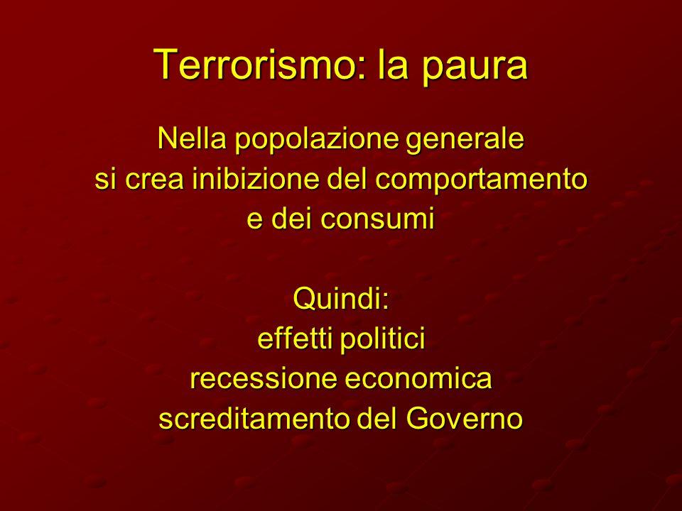 Terrorismo: la paura Nella popolazione generale si crea inibizione del comportamento e dei consumi Quindi: effetti politici recessione economica scred