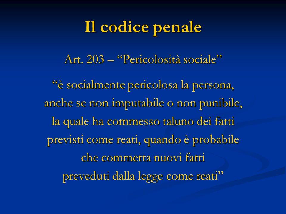 Il codice penale Art. 203 – Pericolosità sociale è socialmente pericolosa la persona, anche se non imputabile o non punibile, la quale ha commesso tal