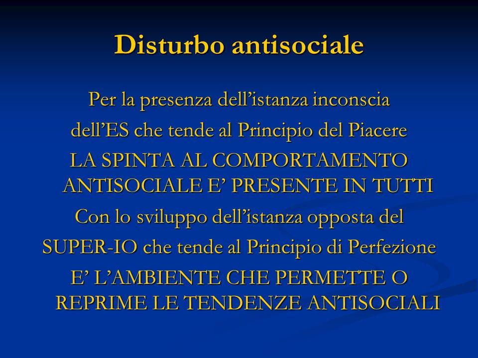 Disturbo antisociale Per la presenza dellistanza inconscia dellES che tende al Principio del Piacere LA SPINTA AL COMPORTAMENTO ANTISOCIALE E PRESENTE