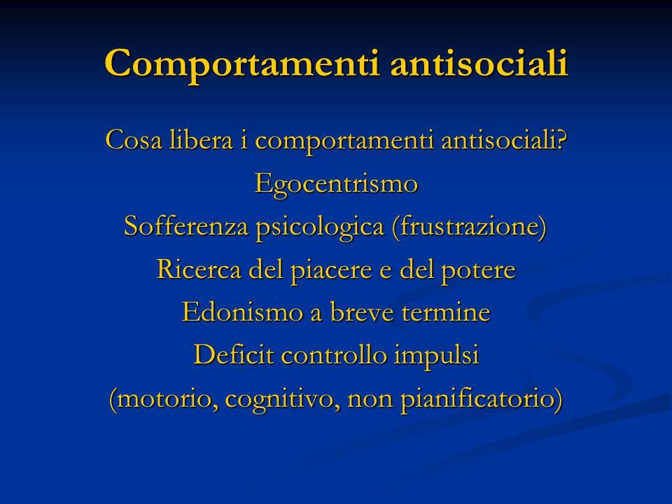 Comportamenti antisociali Cosa libera i comportamenti antisociali? Egocentrismo Sofferenza psicologica (frustrazione) Ricerca del piacere e del potere