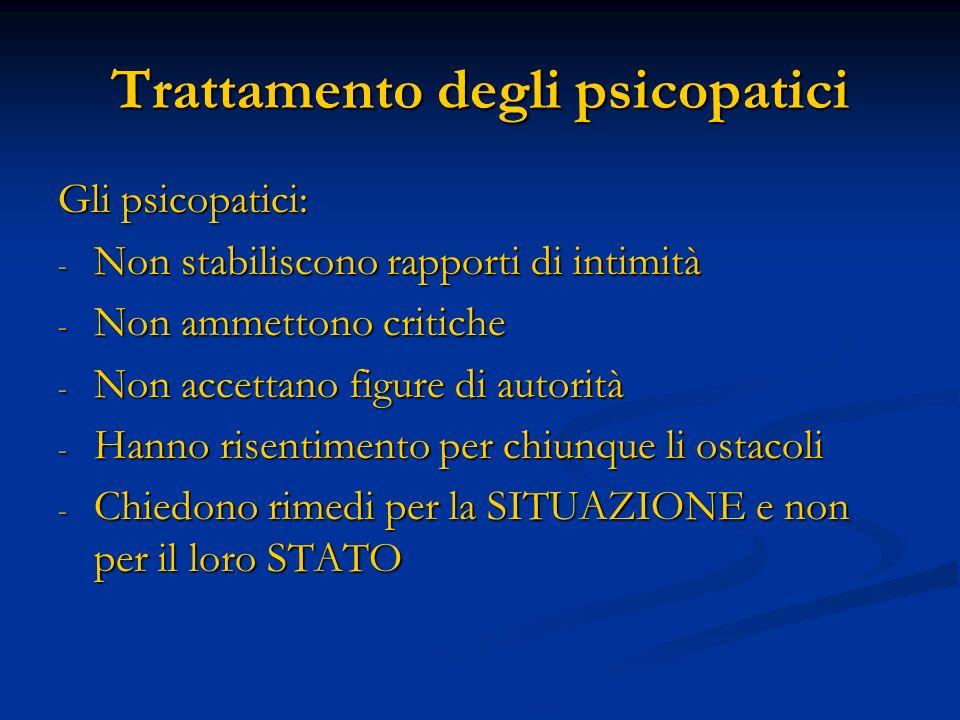Trattamento degli psicopatici Gli psicopatici: - Non stabiliscono rapporti di intimità - Non ammettono critiche - Non accettano figure di autorità - H