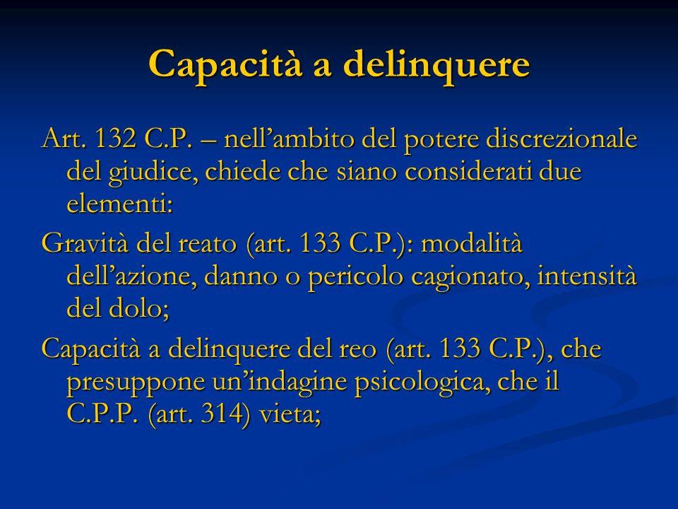 Capacità a delinquere Art. 132 C.P. – nellambito del potere discrezionale del giudice, chiede che siano considerati due elementi: Gravità del reato (a