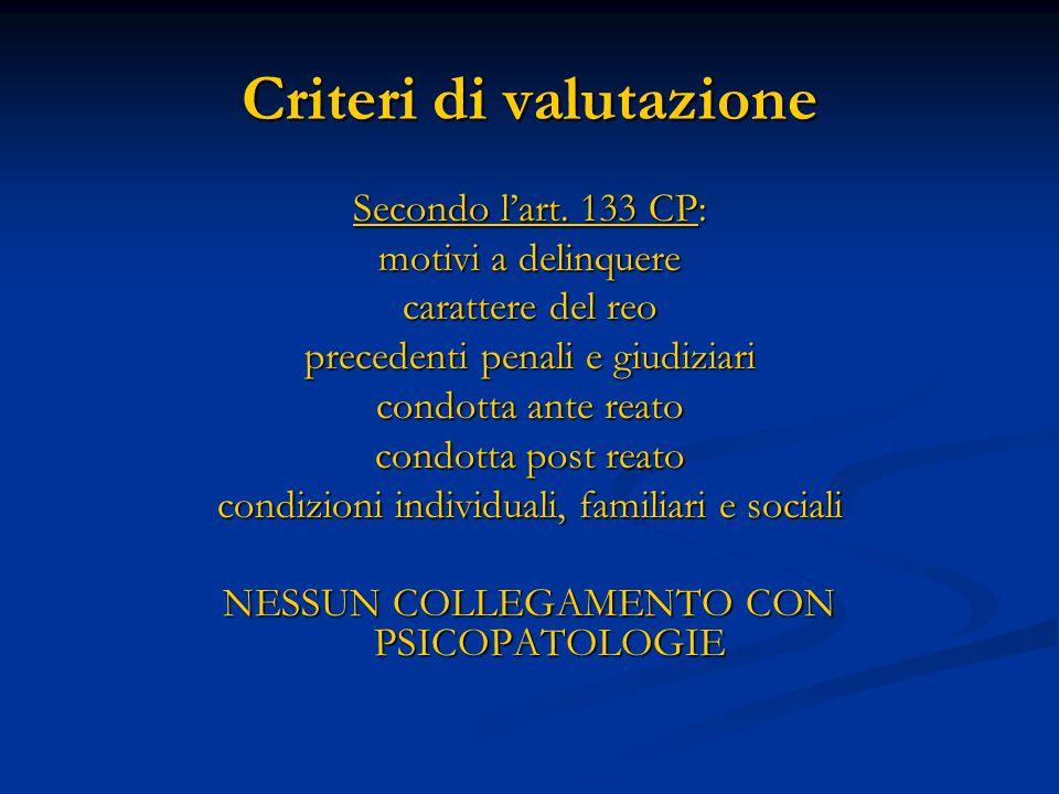 Criteri di valutazione Secondo lart. 133 CP: motivi a delinquere carattere del reo precedenti penali e giudiziari condotta ante reato condotta post re