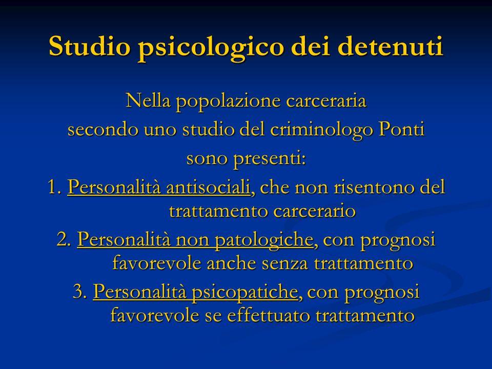 Studio psicologico dei detenuti Nella popolazione carceraria secondo uno studio del criminologo Ponti sono presenti: 1. Personalità antisociali, che n