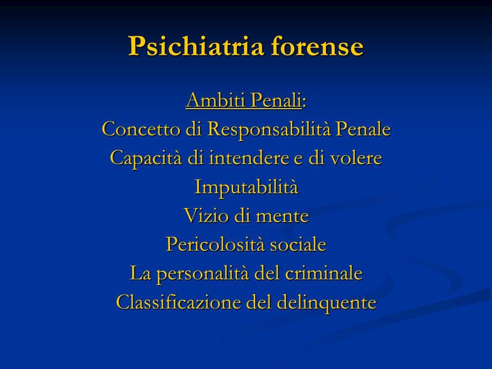 Psichiatria forense Ambiti Penali: Concetto di Responsabilità Penale Capacità di intendere e di volere Imputabilità Vizio di mente Pericolosità social