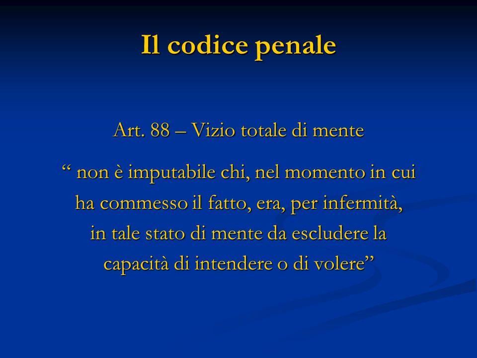 Il codice penale Art. 88 – Vizio totale di mente non è imputabile chi, nel momento in cui non è imputabile chi, nel momento in cui ha commesso il fatt