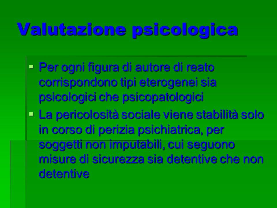 Valutazione psicologica Per ogni figura di autore di reato corrispondono tipi eterogenei sia psicologici che psicopatologici Per ogni figura di autore di reato corrispondono tipi eterogenei sia psicologici che psicopatologici La pericolosità sociale viene stabilità solo in corso di perizia psichiatrica, per soggetti non imputabili, cui seguono misure di sicurezza sia detentive che non detentive La pericolosità sociale viene stabilità solo in corso di perizia psichiatrica, per soggetti non imputabili, cui seguono misure di sicurezza sia detentive che non detentive