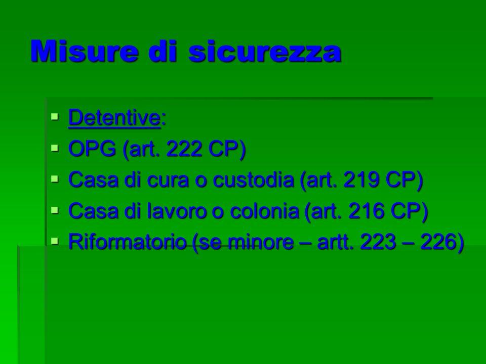 Misure di sicurezza Detentive: Detentive: OPG OPG (art. 222 CP) Casa Casa di cura o custodia (art. 219 CP) di lavoro o colonia (art. 216 CP) Riformato