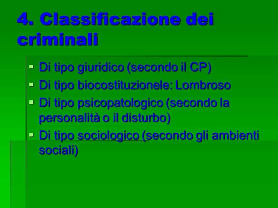 4. Classificazione dei criminali Di tipo giuridico (secondo il CP) Di tipo giuridico (secondo il CP) Di tipo biocostituzionele: Lombroso Di tipo bioco