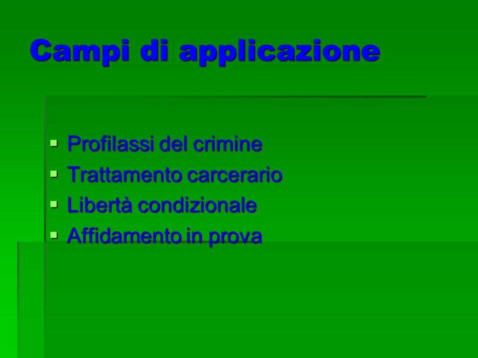 Campi di applicazione Profilassi del crimine Profilassi del crimine Trattamento carcerario Trattamento carcerario Libertà condizionale Libertà condizionale Affidamento in prova Affidamento in prova