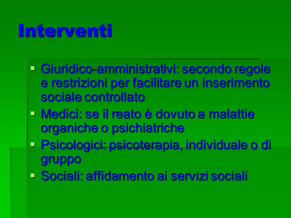 Interventi Giuridico-amministrativi: secondo regole e restrizioni per facilitare un inserimento sociale controllato Giuridico-amministrativi: secondo regole e restrizioni per facilitare un inserimento sociale controllato Medici: se il reato è dovuto a malattie organiche o psichiatriche Medici: se il reato è dovuto a malattie organiche o psichiatriche Psicologici: psicoterapia, individuale o di gruppo Psicologici: psicoterapia, individuale o di gruppo Sociali: affidamento ai servizi sociali Sociali: affidamento ai servizi sociali