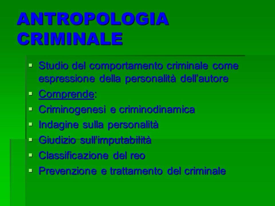 ANTROPOLOGIA CRIMINALE Studio del comportamento criminale come espressione della personalità dellautore Studio del comportamento criminale come espres