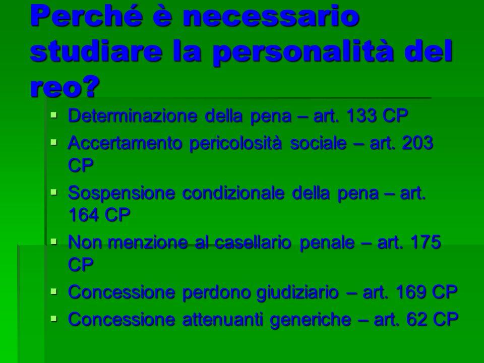 Perché è necessario studiare la personalità del reo? Determinazione della pena – art. 133 CP Determinazione della pena – art. 133 CP Accertamento peri