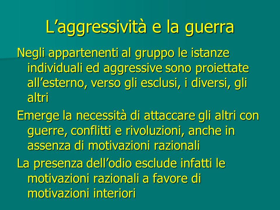 Laggressività e la guerra Negli appartenenti al gruppo le istanze individuali ed aggressive sono proiettate allesterno, verso gli esclusi, i diversi,