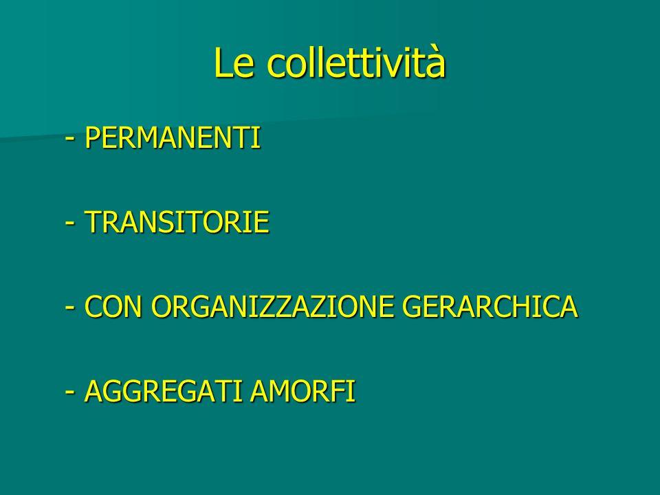 Le collettività - PERMANENTI - TRANSITORIE - CON ORGANIZZAZIONE GERARCHICA - AGGREGATI AMORFI