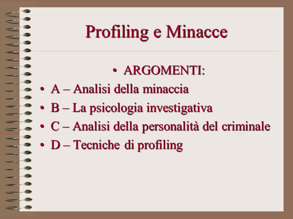 Profiling e Minacce ARGOMENTI:ARGOMENTI: A – Analisi della minacciaA – Analisi della minaccia B – La psicologia investigativaB – La psicologia investi