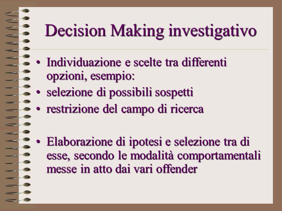 Decision Making investigativo Individuazione e scelte tra differenti opzioni, esempio:Individuazione e scelte tra differenti opzioni, esempio: selezio