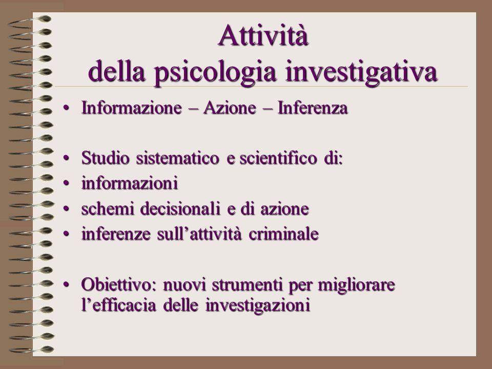 Attività della psicologia investigativa Informazione – Azione – InferenzaInformazione – Azione – Inferenza Studio sistematico e scientifico di:Studio