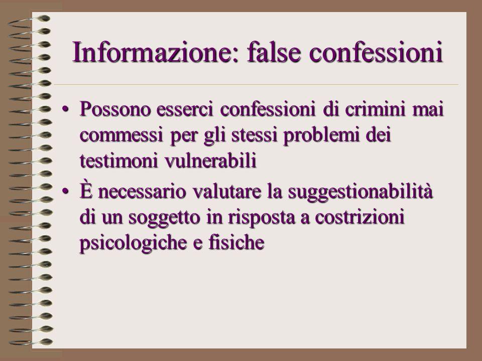 Informazione: false confessioni Possono esserci confessioni di crimini mai commessi per gli stessi problemi dei testimoni vulnerabiliPossono esserci c