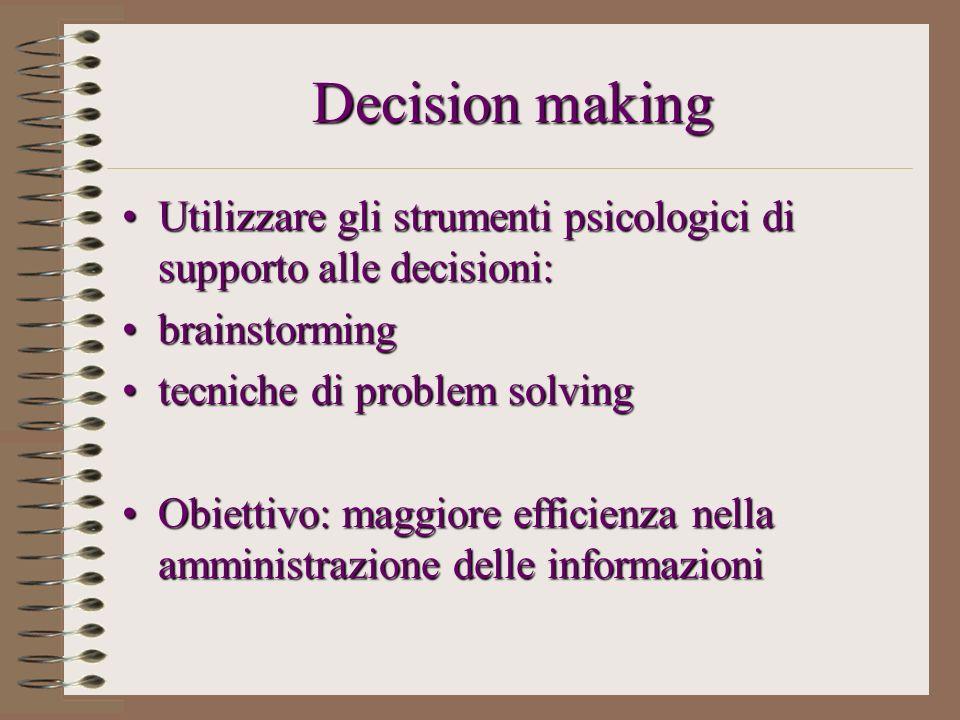 Decision making Utilizzare gli strumenti psicologici di supporto alle decisioni:Utilizzare gli strumenti psicologici di supporto alle decisioni: brain